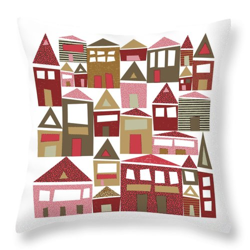 Village Throw Pillow featuring the digital art Peppermint Village by Tonya Doughty
