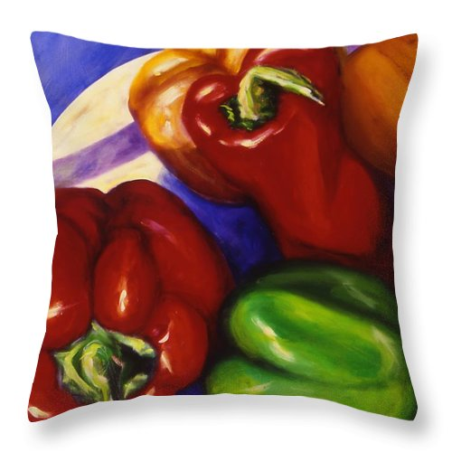 Still Life Peppers Throw Pillow featuring the painting Peppers In The Round by Shannon Grissom