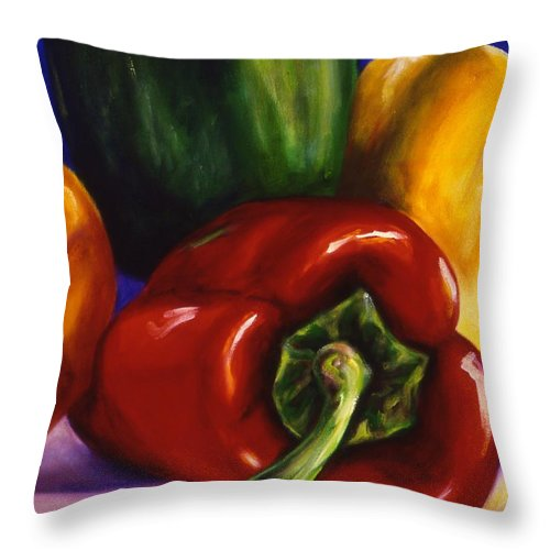 Still Life Throw Pillow featuring the painting Peppers On Peppers by Shannon Grissom