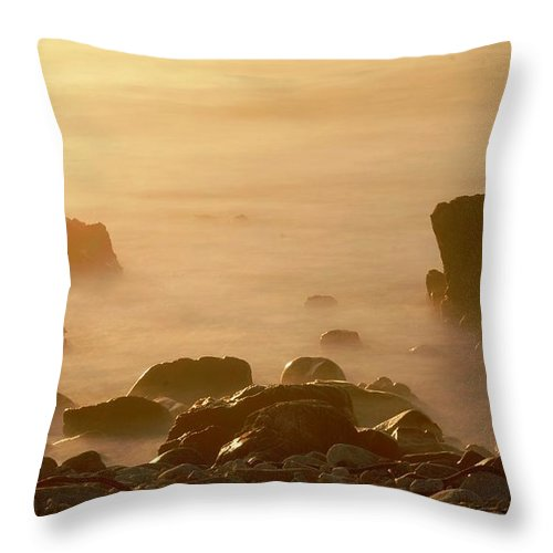 Rock Throw Pillow featuring the photograph Pepple Beach by Catherine Lau