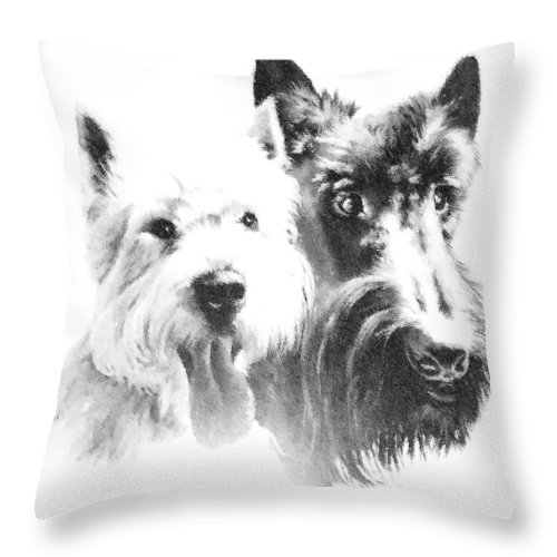 Monochrome Throw Pillow featuring the digital art Pepsi And Max by Charmaine Zoe