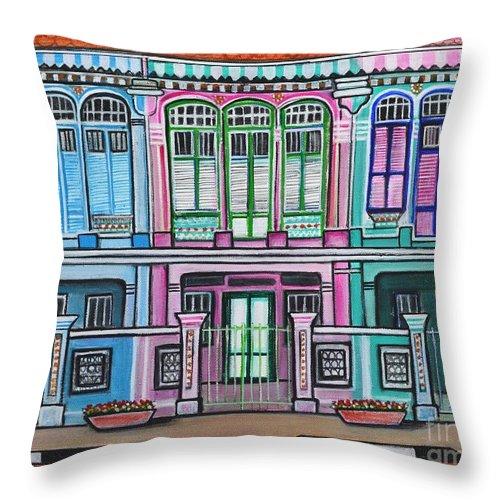 Peranakan Throw Pillow featuring the painting Peranakan Mansion Singapore by Manjiri Kanvinde