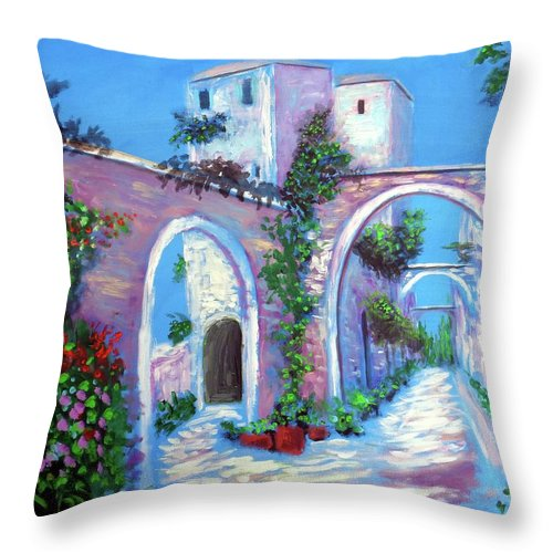 Cirigliano Throw Pillow featuring the painting Percorso Paradiso by Larry Cirigliano