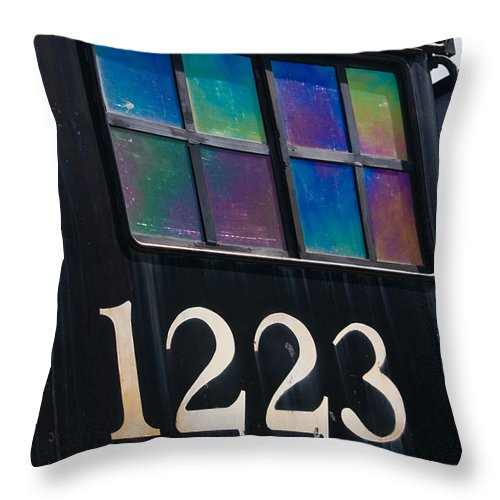 3scape Throw Pillow featuring the photograph Pere Marquette Locomotive 1223 by Adam Romanowicz