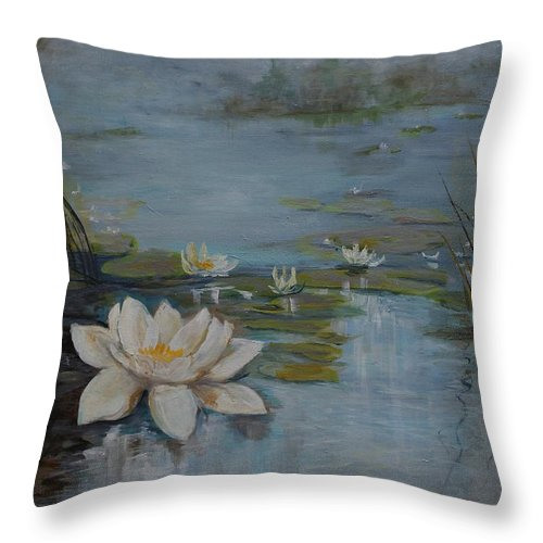 Water Lily Throw Pillow featuring the painting Perfect Lotus - Lmj by Ruth Kamenev