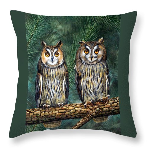 Wildlife Throw Pillow featuring the painting Perfect Strangers by Frank Wilson