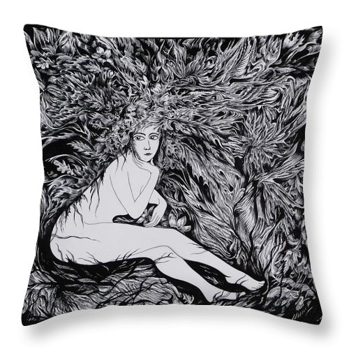 Black And White Throw Pillow featuring the drawing Performance Of Autumn by Anna Duyunova