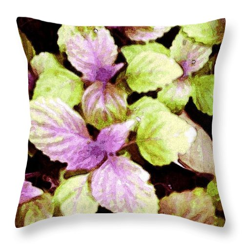 Garden Throw Pillow featuring the digital art Perilla Beauty by Winsome Gunning