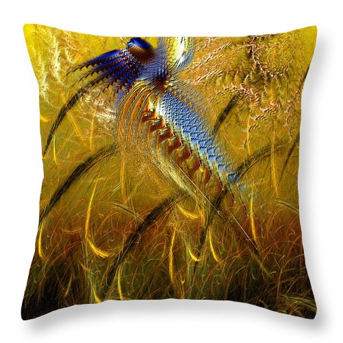 Abstract Throw Pillow featuring the digital art Perils Of Genetic Engineering by Casey Kotas
