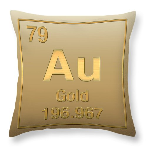 Periodic Table Of Elements Gold Au Gold On Gold Throw Pillow For Sale By Serge Averbukh