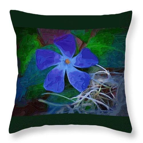 Flower Throw Pillow featuring the digital art Periwinkle Blue by Donna Bentley