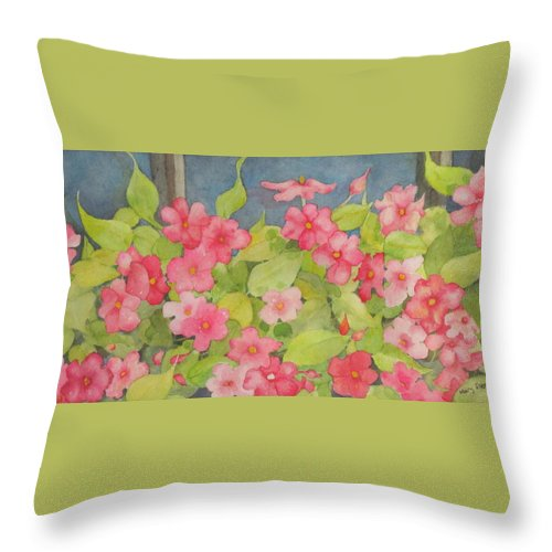Flowers Throw Pillow featuring the painting Perky by Mary Ellen Mueller Legault