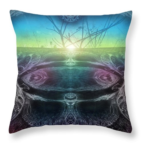 Digital Throw Pillow featuring the digital art Perpetual Motion Landscape by Otto Rapp