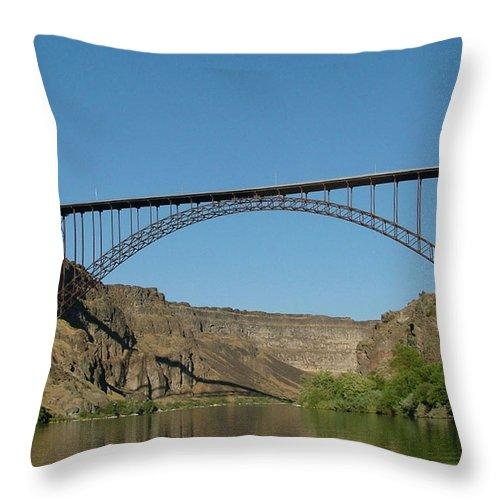 Dawn Blair Throw Pillow featuring the painting Perrine Bridge by Dawn Blair