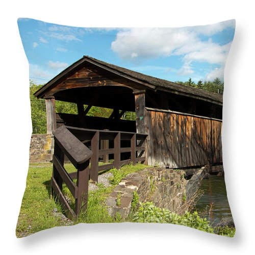 Architecture Throw Pillow featuring the photograph Perrine's Bridge In May by Jeff Severson