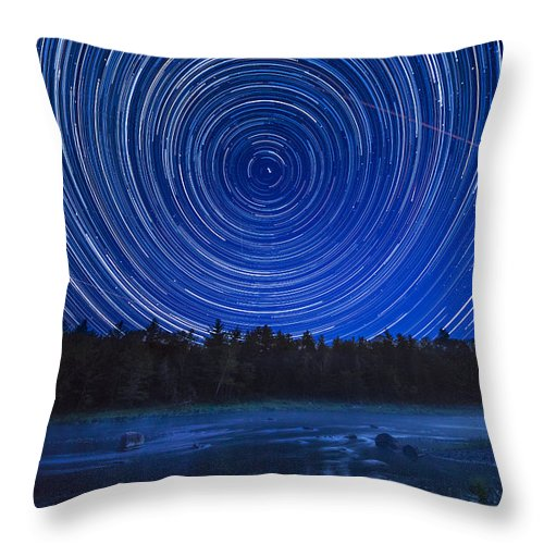 Perseids Throw Pillow featuring the photograph Perseids Meteor Shower Mattawamkeag, Maine by William Rogers