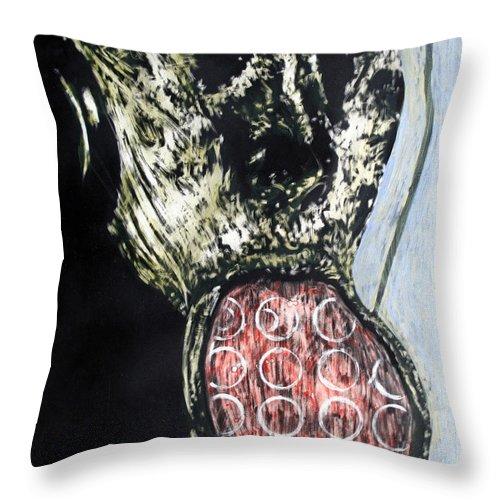 Portrait Throw Pillow featuring the mixed media Persephone by Chester Elmore