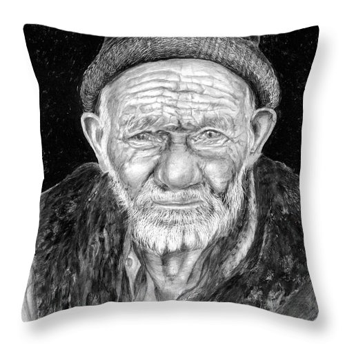 Figurative Painting Throw Pillow featuring the painting Perserverance by Portraits By NC