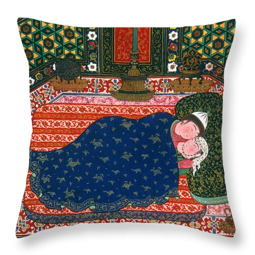 1520s Throw Pillow featuring the photograph Persia: Lovers, 1527-28 by Granger
