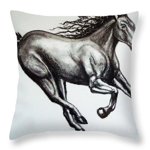 Horse Throw Pillow featuring the drawing Persistance by Elizabeth Robinette Tyndall