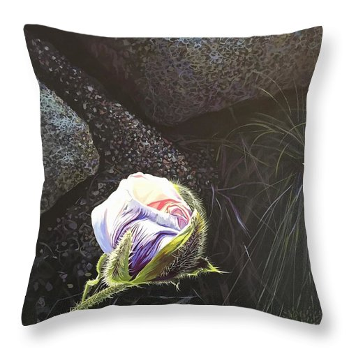 Poppy Throw Pillow featuring the painting Persistence by Hunter Jay