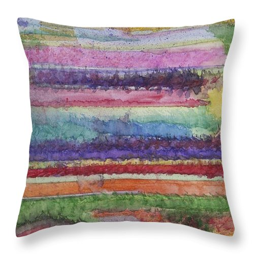 Colorful Throw Pillow featuring the painting Perspective by Jacqueline Athmann