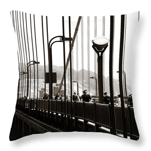 Americana Throw Pillow featuring the photograph Perspective On The Golden Gate Bridge by Marilyn Hunt