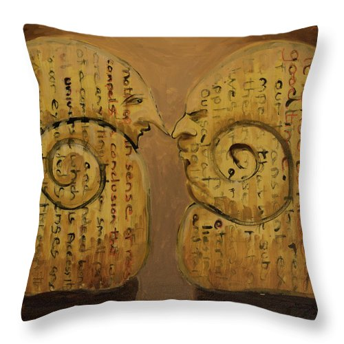 Pessimist Throw Pillow featuring the painting Pessimist Optimist by Craig Newland