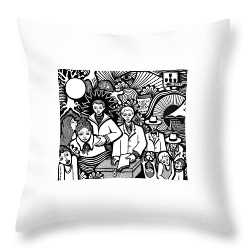 Drawing Throw Pillow featuring the painting Pessoa 1888 - 1935 by Jose Alberto Gomes Pereira
