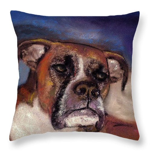 Pastel Pet Portraits Throw Pillow featuring the painting Pet Portraits by Darla Joy Johnson