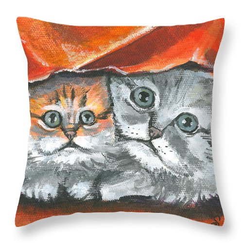 Mini Paintings Throw Pillow featuring the painting Pet Portraits-two Kitties by Sarah Lowe
