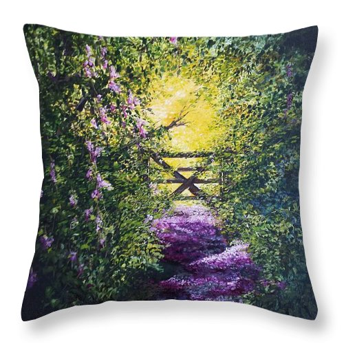 Inspirational Throw Pillow featuring the painting Petal strewn pathway, into the light by Lizzy Forrester