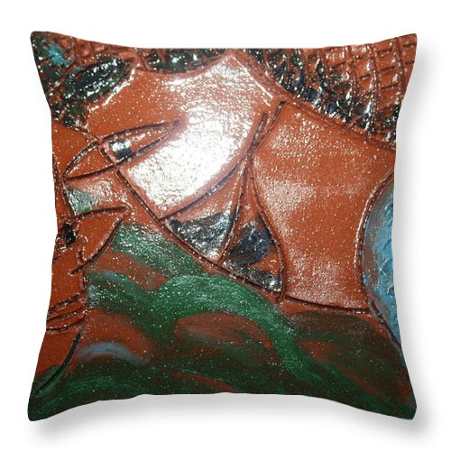 Jesus Throw Pillow featuring the ceramic art Petals - Tile by Gloria Ssali