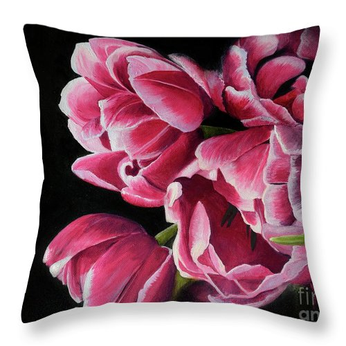 Floral Throw Pillow featuring the painting Petals by Fiona Valentine