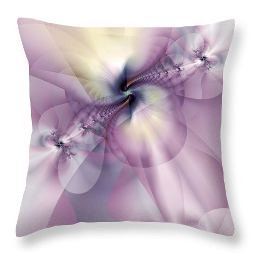 Abstract Throw Pillow featuring the digital art Petals Of Pulchritude by Casey Kotas