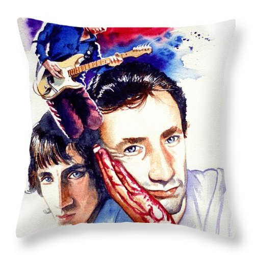 The Who Throw Pillow featuring the painting Pete Townshend by Ken Meyer jr
