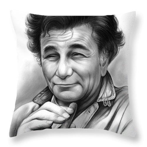 Peter Falk Throw Pillow featuring the drawing Peter Falk by Greg Joens