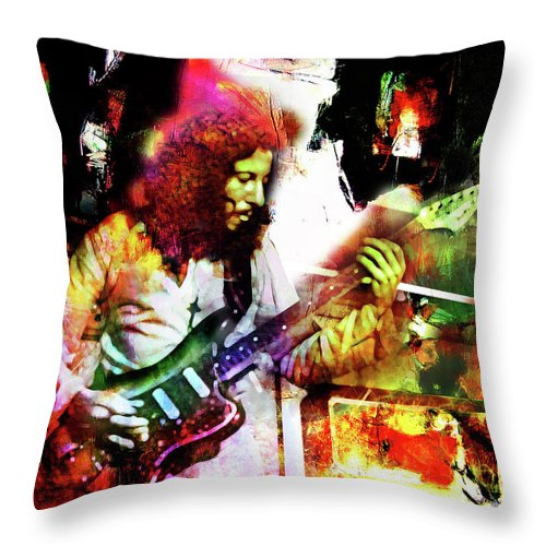 Peter Green Throw Pillow featuring the mixed media Peter Green by Mal Bray