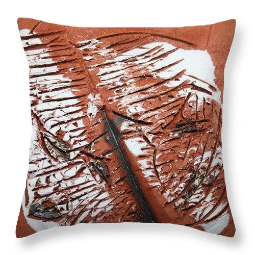 Jesus Throw Pillow featuring the ceramic art Peter N Katie - Tile by Gloria Ssali