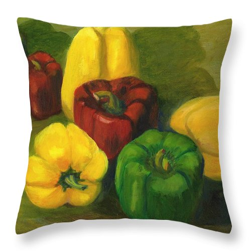 Group Throw Pillow featuring the painting Peter Pifer Has A Lot Of Peppers To Choose From by Gloria Condon