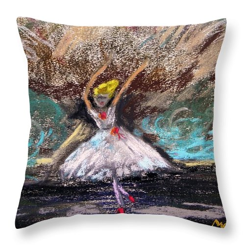 Little Ballerina Throw Pillow featuring the painting Petite Ballerina by Mary Carol Williams