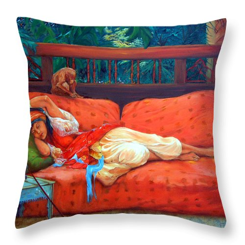 Figurative Art Throw Pillow featuring the painting Petite Somme After A. Bridgman by Enzie Shahmiri