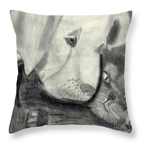 Pets Graphite Throw Pillow featuring the painting Pets by Epic Luis Art