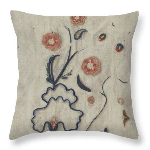 Throw Pillow featuring the drawing Petticoat (detail) by Mildred E. Bent
