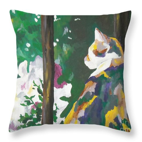 Petunia Throw Pillow featuring the painting Petunia by Caroline Davis