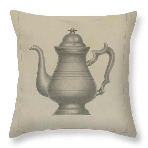 Throw Pillow featuring the drawing Pewter Coffee Pot by Burton Ewing