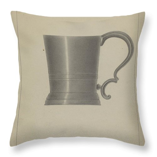 Throw Pillow featuring the drawing Pewter Mug by Filippo Porreca