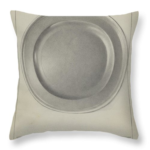 Throw Pillow featuring the drawing Pewter Plate by Charles Cullen