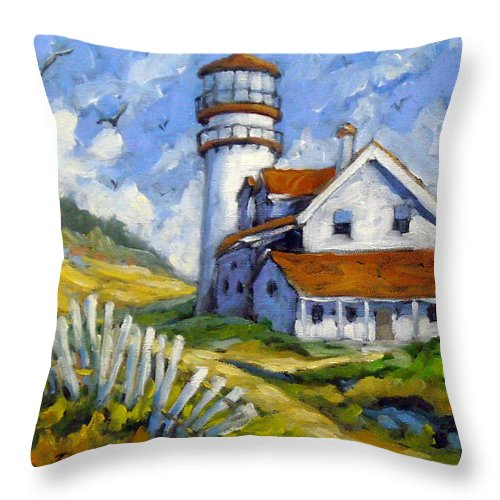 Art For Sale; Seascape Throw Pillow featuring the painting Phare 005 by Richard T Pranke