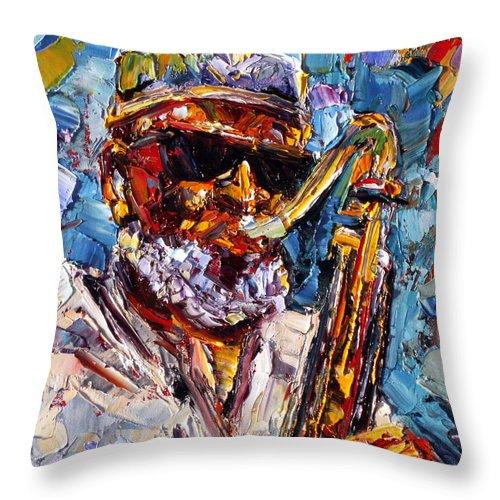 Jazz Throw Pillow featuring the painting Pharoah by Debra Hurd